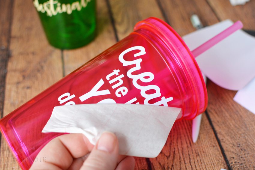 These DIY Vinyl Cups are adorable and versatile. They are a perfect vinyl craft idea to make with a cutting machine! Easily customize with your own sayings.