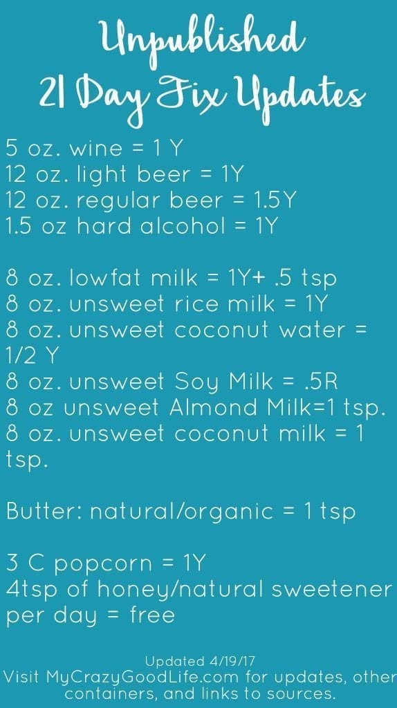 21 Day Fix Foods List: All of the unpublished updates!