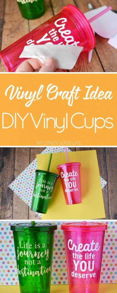 These DIY Vinyl Cups are adorable and versatile. They are a perfect vinyl craft idea to make with your Cricut or Silhouette cutting machine! Easily customize with your own sayings for the perfect party favor!