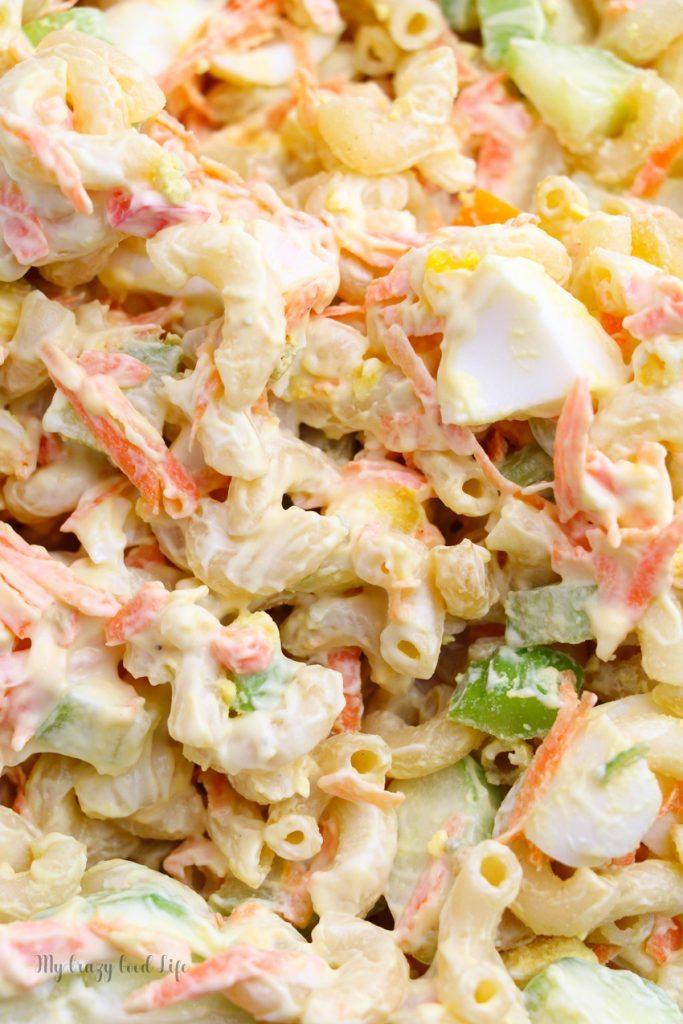 close up pasta salad