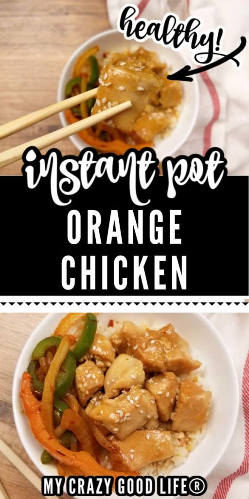 images of healthy orange chicken in white bowl with text for pinterest