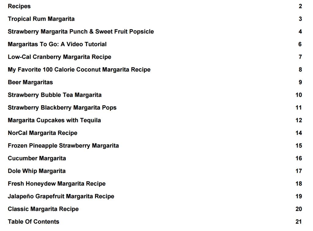 Crazy Good Margaritas Recipe List