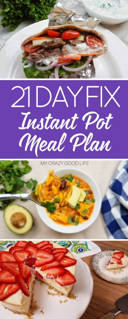 My two favorite things: 21 Day Fix and the Instant Pot. What better way to combine them than a 21 Day Fix Instant Pot meal plan. #instantpot #pressurecooker #mealplanning #21dayfix #beachbody