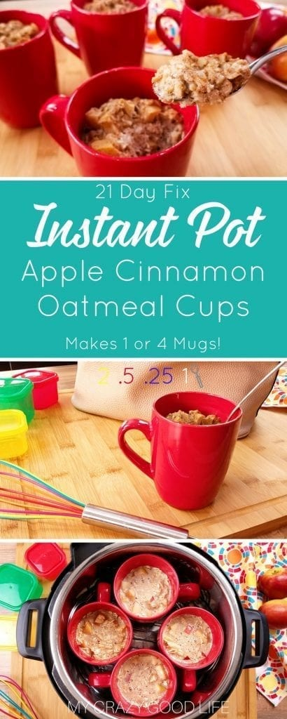 Homemade and delicious Instant Pot Apple Cinnamon Oatmeal cups, AND they're 21 Day Fix Friendly! This recipe makes one or four oatmeal cups. | 21 Day Fix Oatmeal