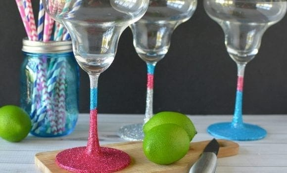 DIY Glitter Margarita Glasses
