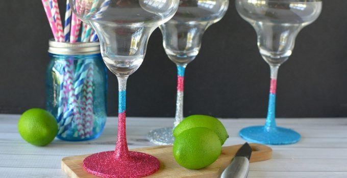 DIY Glitter Margarita Glasses