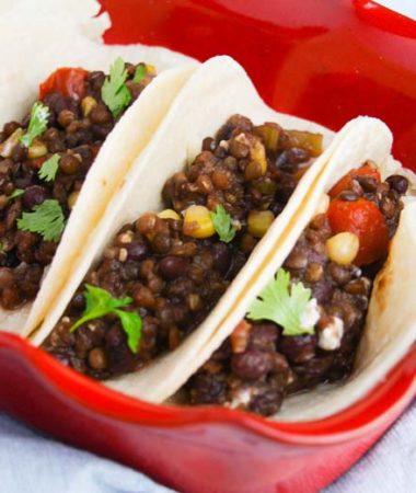 lentil tacos on red dish