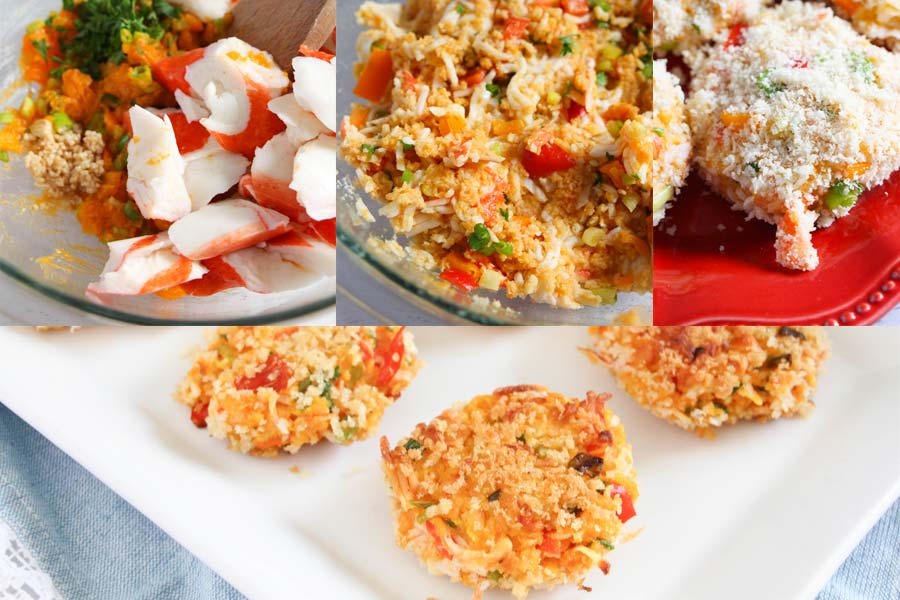collage showing how to make these crab cakes