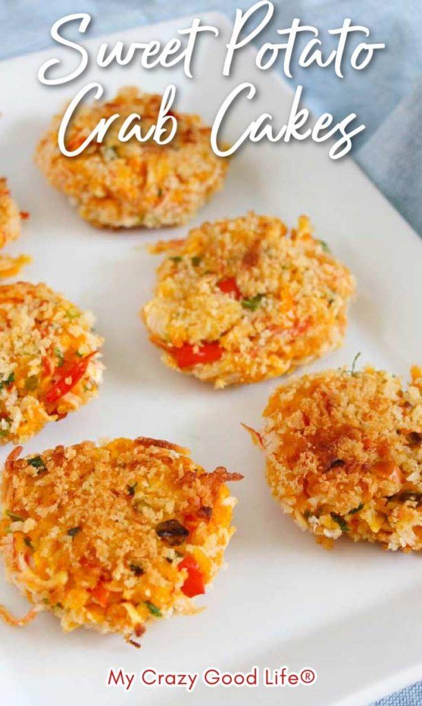 sweet potato crab cakes on a white platter