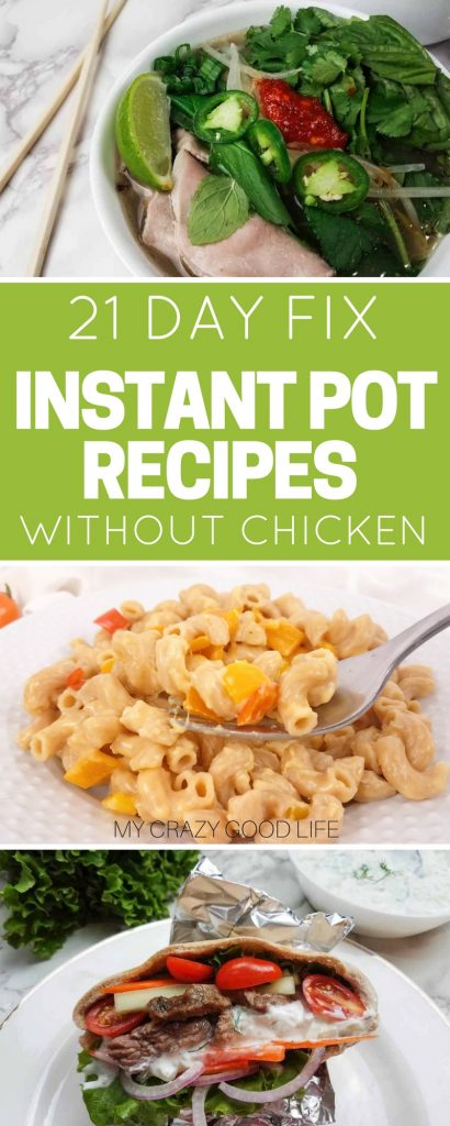 I love making healthy dinner recipes with the Instant Pot because it's so quick and easy. These 21 Day Fix Instant Pot recipes without chicken are great for mixing it up in the kitchen.