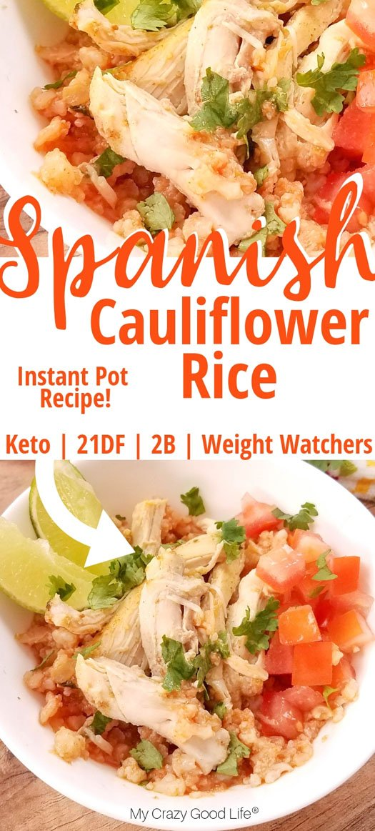 spanish rice in instant pot pinnable image, rice in white bowl