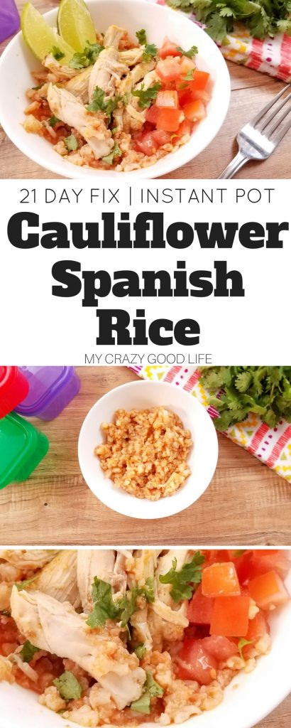 Craving Spanish Rice but need the recipe to be easy? This Instant Pot Spanish Rice is made with cauliflower *and* is 21 Day Fix friendly! It's the best of both worlds! Cauliflower Spanish Rice | 21 Day Fix Spanish Rice | Instant Pot Spanish Rice
