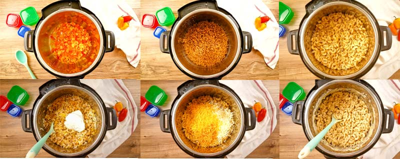 Collage of how to make instant pot macaroni and cheese