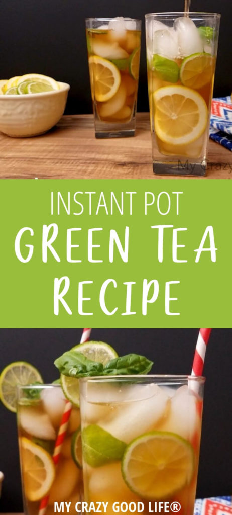 Making Instant Pot Green Tea is easy! I'm giving you all of the directions for Basil Lime Green Tea in the Instant Pot, or leave it plain if you like. This is a delicious green tea recipe you can make at home!