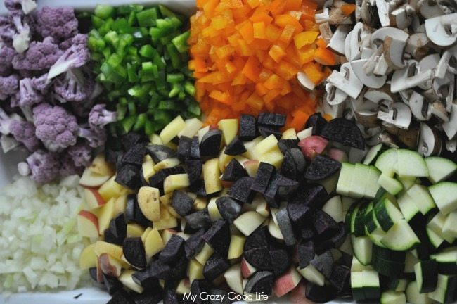 All of the chopped ingredients for this Healthy Weight Watchers Casserole are piled up and waiting to be baked!