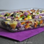 Healthy Weight Watchers Casserole on a purple napkin on top of a wooden table.