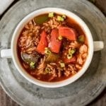 Light stuffed pepper soup is a quick and easy recipe that is perfect for fall. It's perfect for making in the crockpot or the Instant Pot.