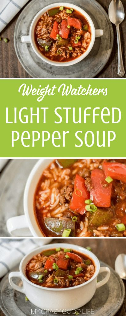 Light stuffed pepper soup is a quick and easy recipe that is perfect for fall. It's perfect for making in the crockpot or the Instant Pot. Light Stuffed Pepper Soup | Stuffed Pepper Soup | Weight Watchers Stuffed Pepper Soup | WW Stuffed Pepper Soup