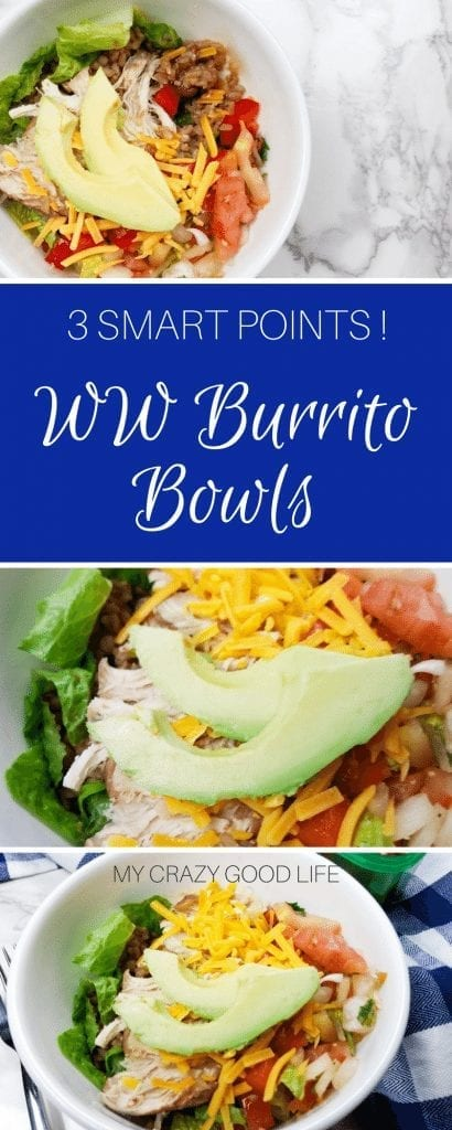If you are looking for a great choice on those days when you are nearly out of points till evening rolls around, these WW burrito bowls are the answer! WW Burrito Bowls | Weight Watchers Burrito Bowls | Burrito Bowls Recipes | Healthy WW Recipes | WW Dinner Recipes | Weight Watchers Dinner Recipes