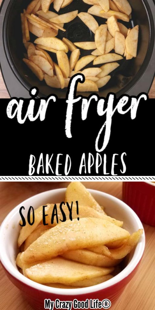 Air fried apple collage with text for Pinterest
