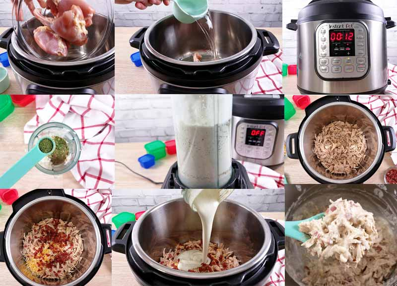 in process collage showing how to make crack chicken