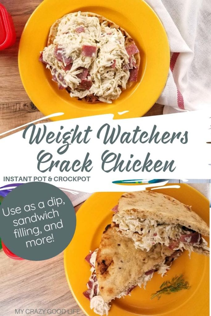 Making this Weight Watchers Crack Chicken is easier than ever thanks to the Instant Pot. You can make this healthy crack chicken for sandwiches, dips, and appetizers! Weight Watchers Crack Chicken | Instant Pot WW Cracked Out Chicken | Weight Watchers Appetizer Recipe | Instant Pot Crack Chicken #ww #weightwatchers #crackchicken