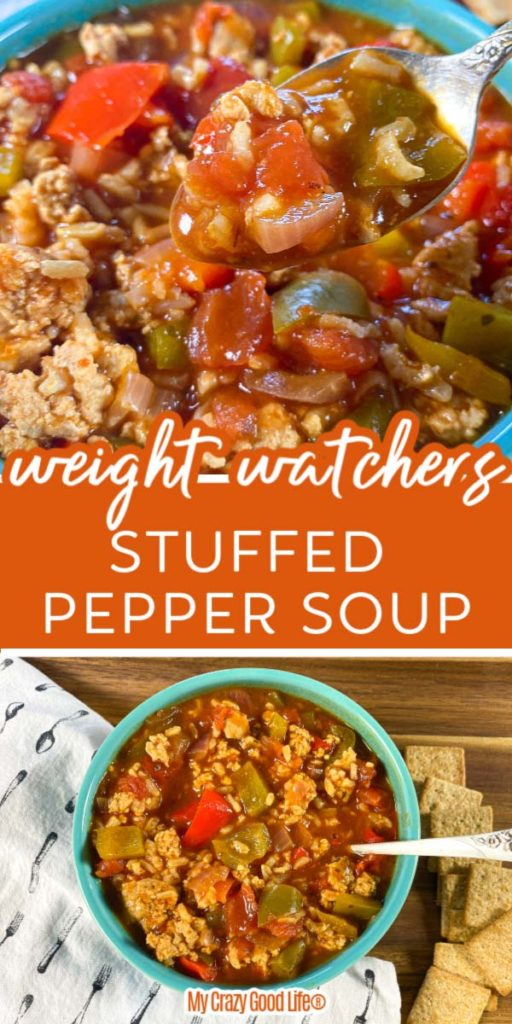 collage image and text of stuffed pepper soup in a blue bowl