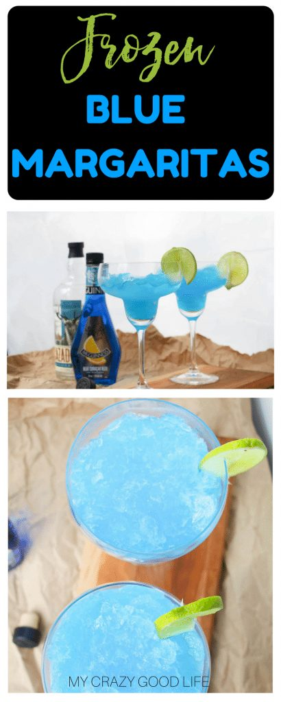 I think it's time for a new margarita recipe! These frozen blue margaritas are deliciously simple. You can whip them up for a frozen treat! Frozen Blue Margaritas | Frozen Margaritas | Margarita Recipes | Frozen Blue Margarita | Blue Margarita Recipes