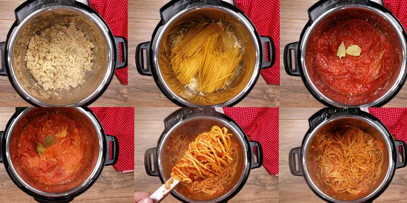in process pictures of how to make spaghetti in the Instant Pot