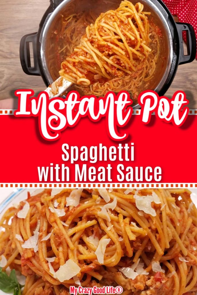 collage image of Instant Pot spaghetti with text for pinterest