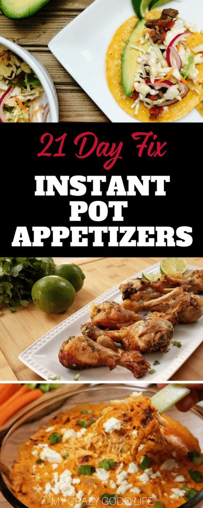 These 21 Day Fix Instant Pot appetizer recipes will help you bring something healthy to your next happy hour!#21dayfix #recipes #gameday #instantpot