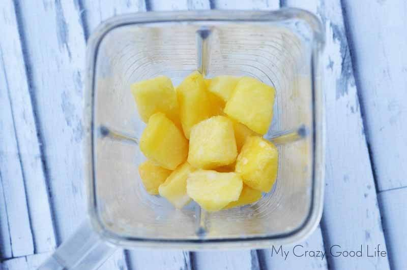 The view inside the blender when making a dole whip weight watchers recipe.