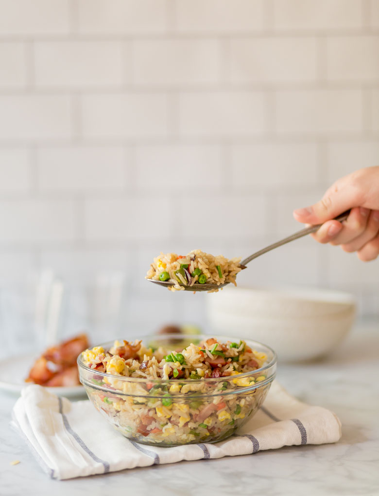 breakfast rice with bacon in clear bowl