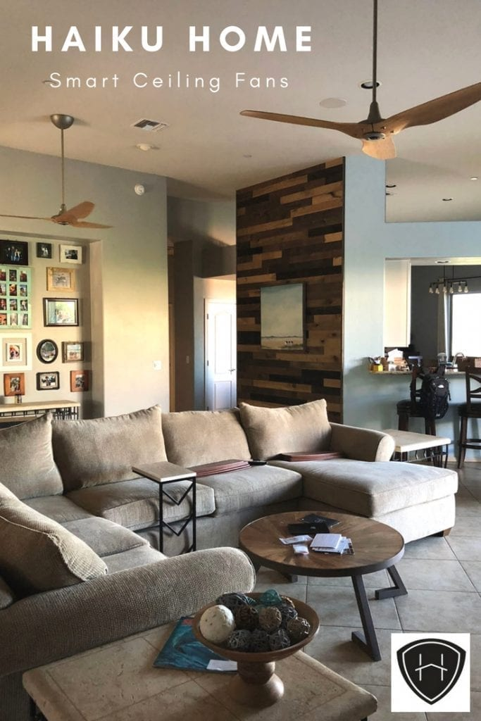 We are loving our stylish energy efficient high tech ceiling from from Haiku Home! Here's our Haiku Fan Review for our Haiku H Series Ceiling Fans. #DIY #ceilingfans #makeover #modern #livingroom #highceilings