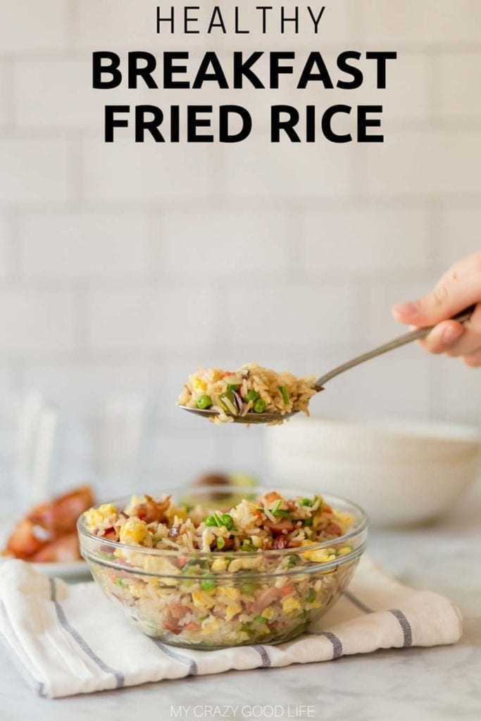 This healthy breakfast fried rice recipe is perfect for camping, meal prep, or even healthy breakfast for dinner! It's a great 21 Day Fix breakfast recipe, and good for 80 Day Obsession breakfast as well as 2B Mindset breakfast! #21dayfix #healthybreakfast #mealprep #2bmindset #80dayobsession