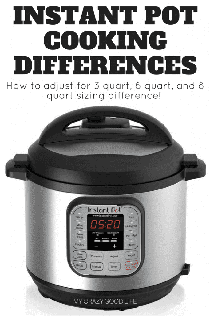 There should be no major difference in cook times between a 3, 6 and 8 quart Instant Pot, however, users report a few differences. Time to come to pressure, pressure release time, water needed, and wattage are different in each Instant Pot size. #instantpot #pressurecooker #IPcooking