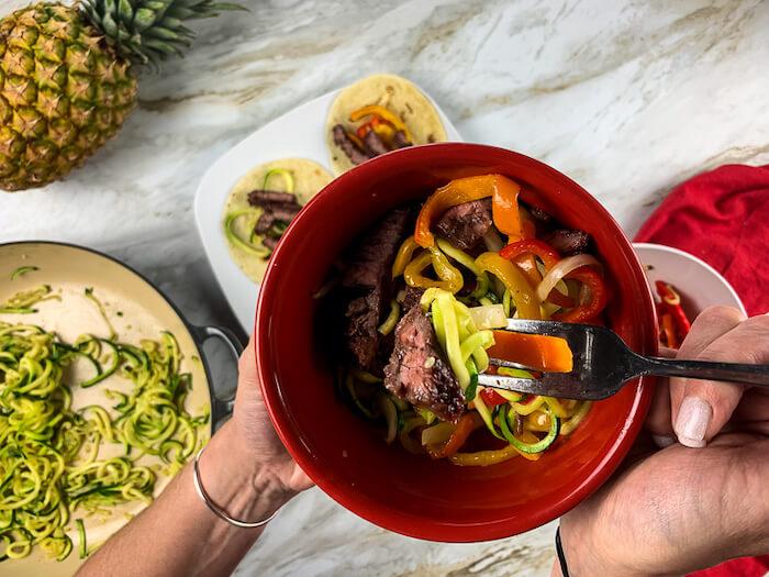 Bowl of steak fajita zoodles for Weight Watchers