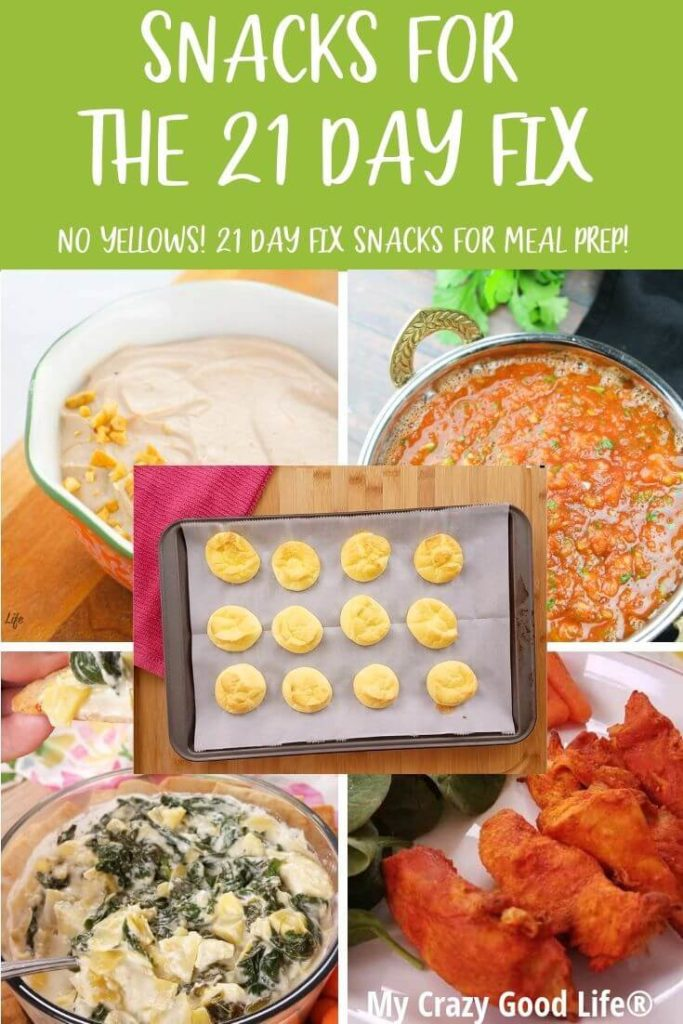 Collage of pictures of finished 21 Day Fix snack recipes.