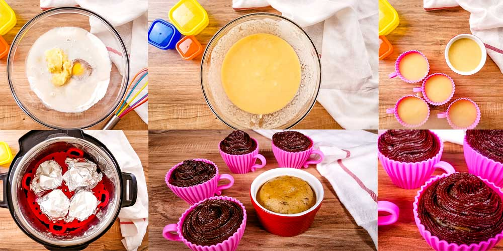 collage of how to make instant pot cupcakes