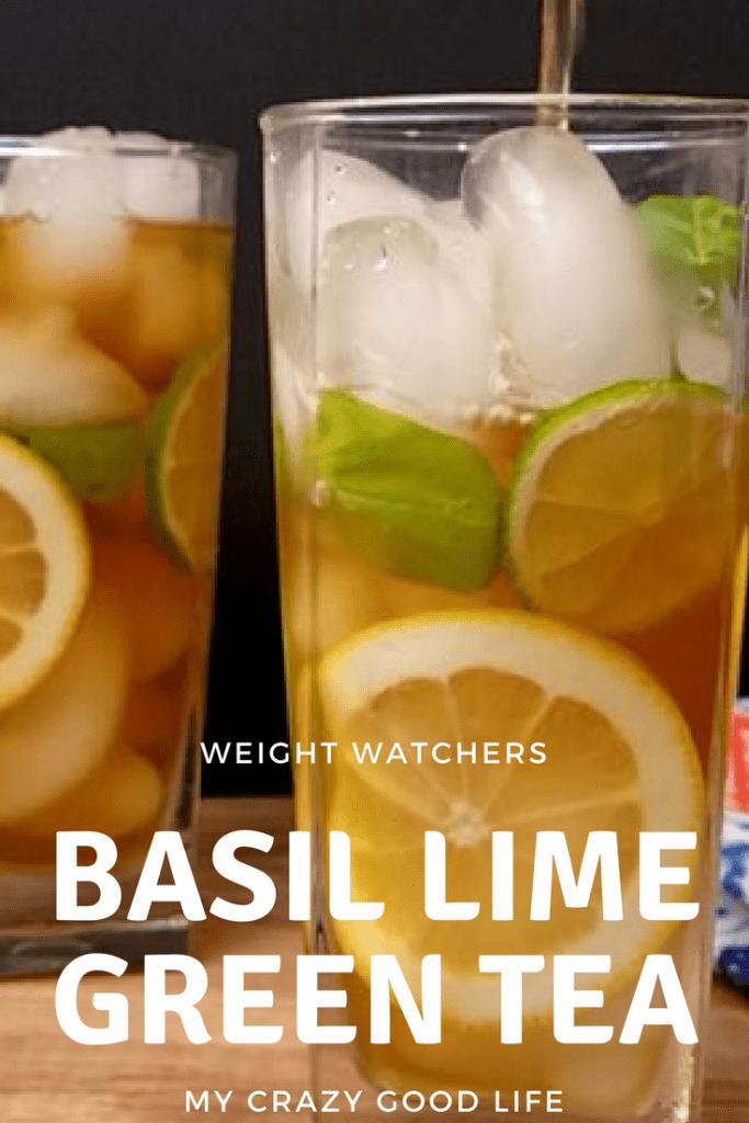 basil lime green tea in a glass