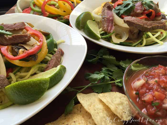 Hop on board the zoodles train! This Weight Watchers steak fajita zoodles recipe is perfect for the whole family! #weightwatchers #recipes #zoodles