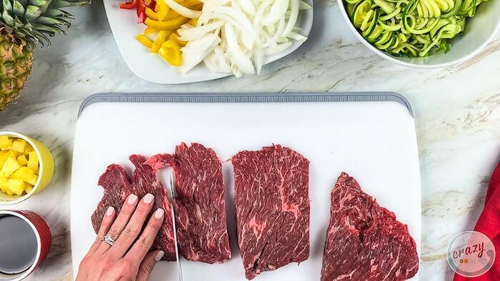 Cut steak ready to be eaten with the steak fajitas