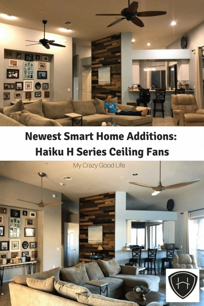 We are loving our modern and energy efficient high tech ceiling from from Haiku Home! Here's our Haiku Fan Review for our Haiku H Series Ceiling Fans. #DIY #ceilingfans #makeover #modern #livingroom #highceilings