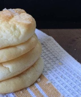 cloud bread on a brown and white kitchen towel