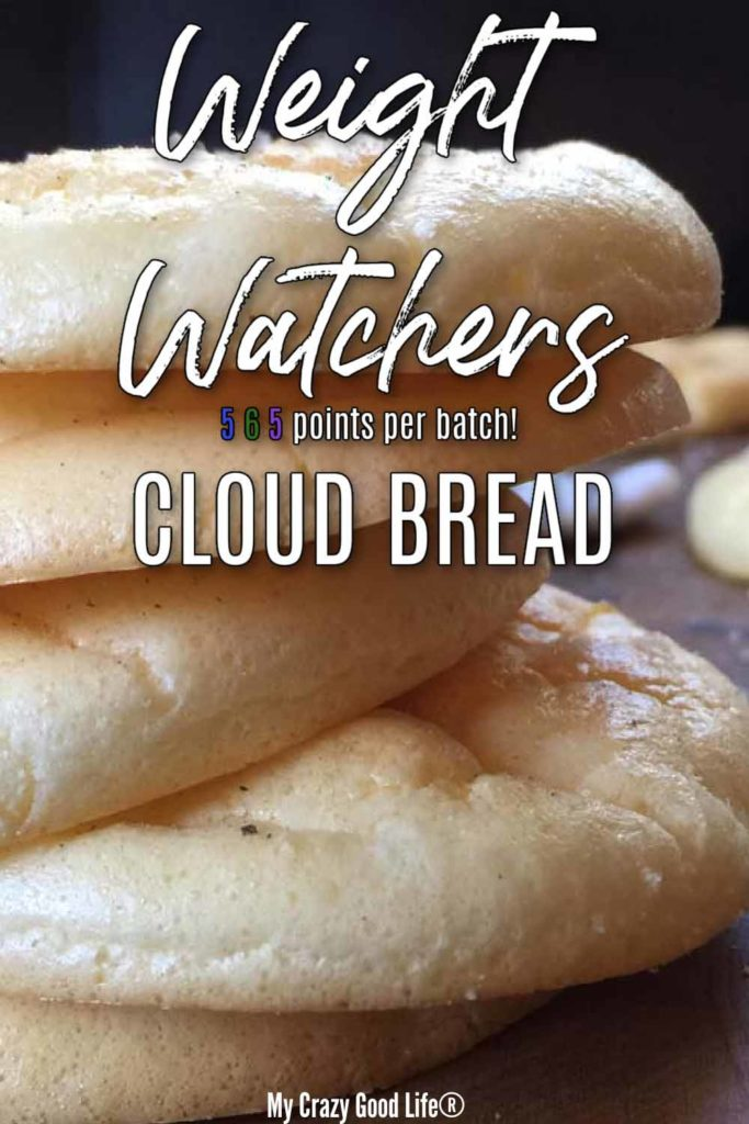 close up of stacked cloud bread with text for pinterest