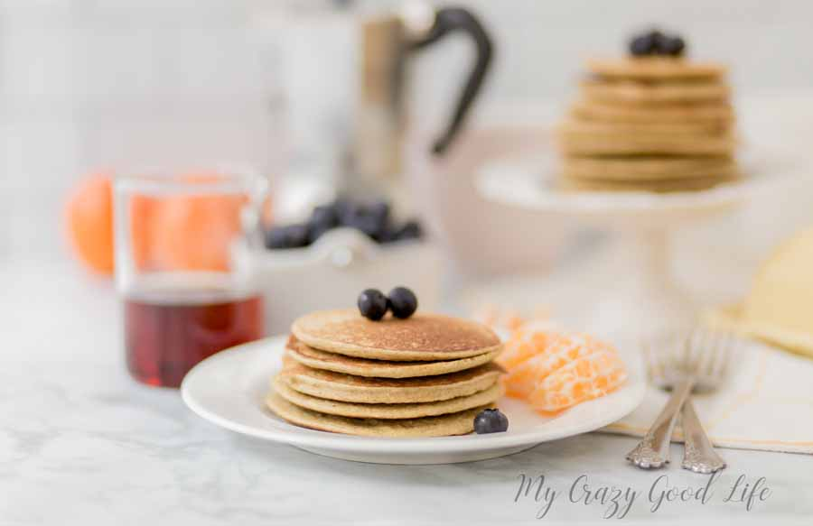 These flour free pancakes are a family favorite! These flour free pancakes are the best breakfast recipe! They're so filling, and a great way to start the day. These can easily be made into dairy free pancakes by omitting the cottage cheese and adding in a banana instead. #breakfast #glutenfree #recipes