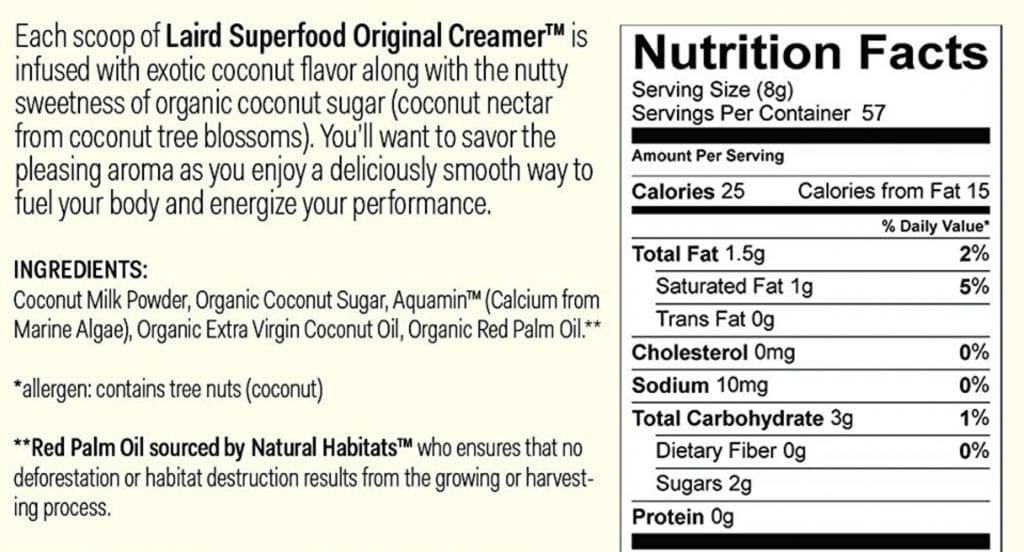 Nutrition label and ingredient list for Laird Brand coffee creamer