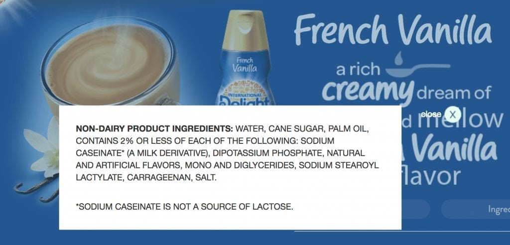 Ingredients from Vanilla International Delight Coffee Creamer