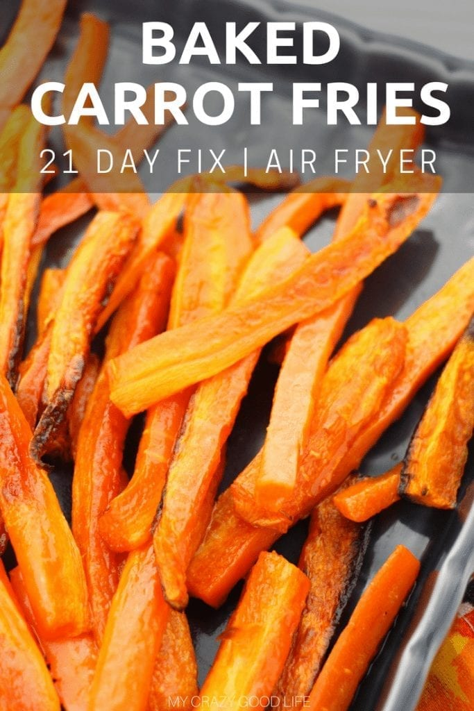These Baked Carrot Fries are the perfect answer to your salt craving! You can use an air fryer or your oven to get crispy vegetable fries that will satisfy your craving! 21 Day Fix Snack | 21 Day Fix Side Dish | 21 Day Fix Air Fryer Recipe