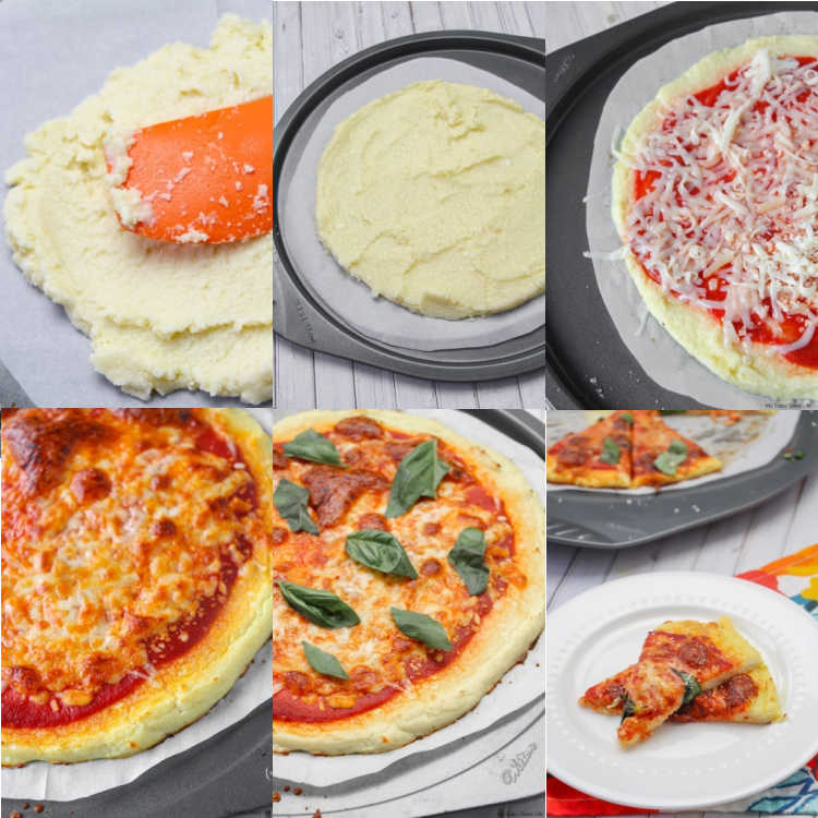 collage of cauliflower pizza crust